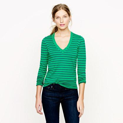 Cotton V-neck sweater in stripe