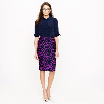 Petite No. 2 pencil skirt in geometric print