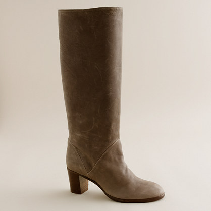 Sutton tall leather midheel boots with extended calf