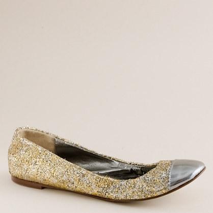 Glitter jacquard ballet flats