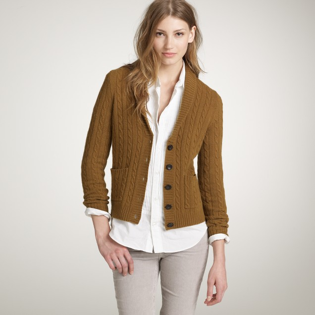 Cambridge cable shawl-collar cardigan