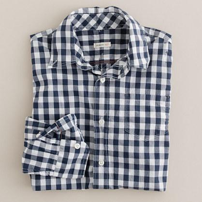 Boys' Secret Wash lightweight button-down shirt in large gingham