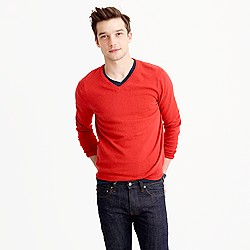 Tall cotton-cashmere V-neck sweater