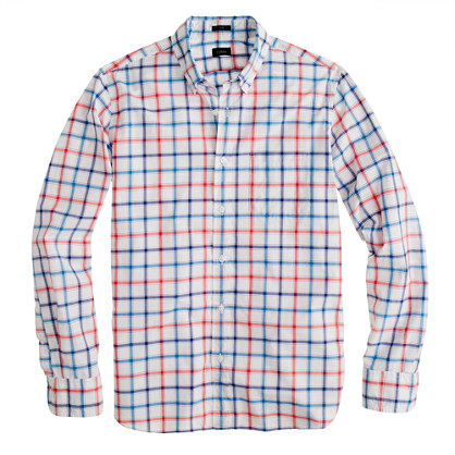 Slim Secret Wash shirt in papaya check