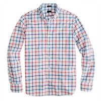 Slim Secret Wash shirt in papaya check