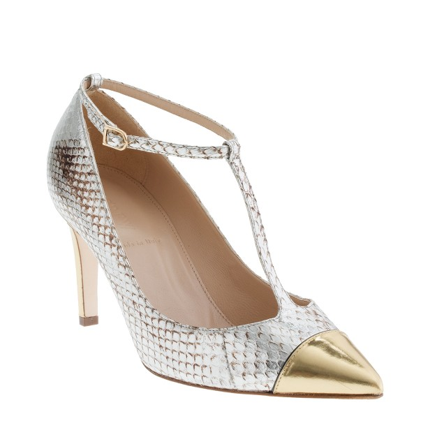 Collection Everly snakeskin T-strap pumps