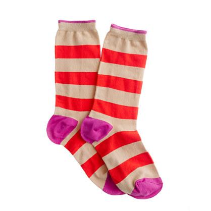 Wide stripe trouser socks
