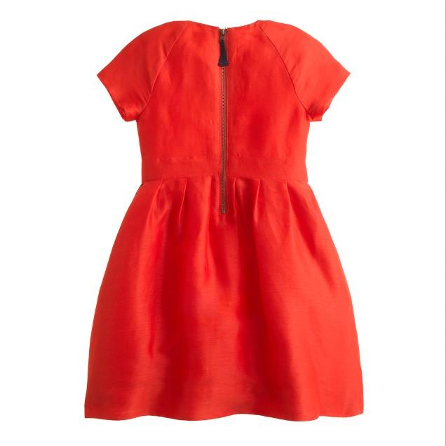 Girls' silk-linen flame dress