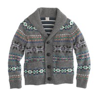 Boys' lambswool Fair Isle shawl-collar cardigan