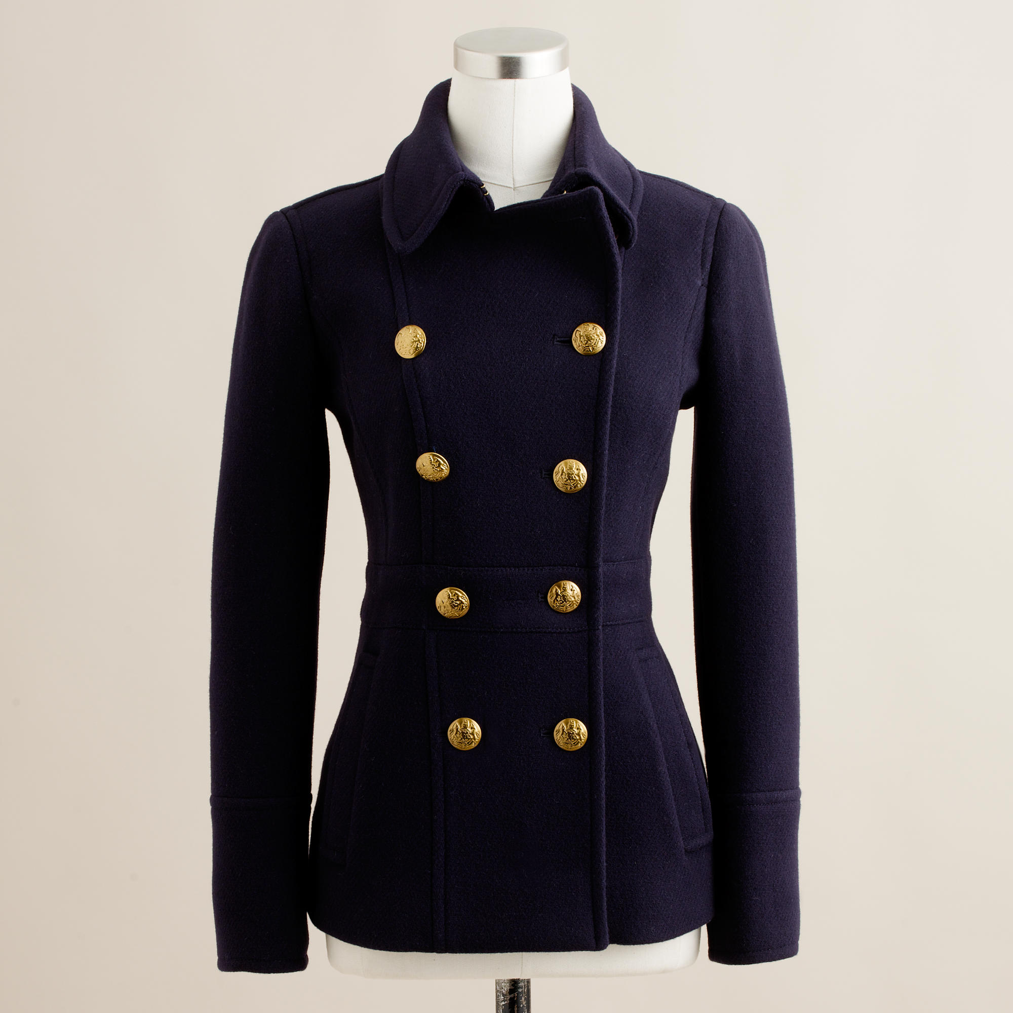 Stadium-cloth peacoat with gold buttons : | J.Crew