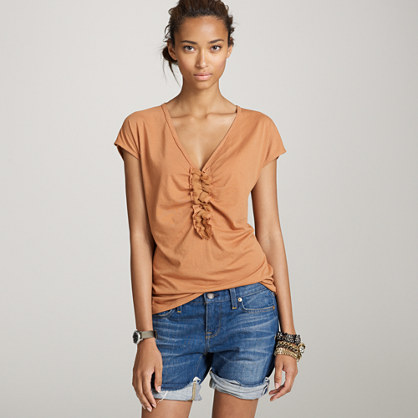 Tissue ruched V-neck tee