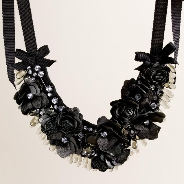 Flower-flash bib necklace