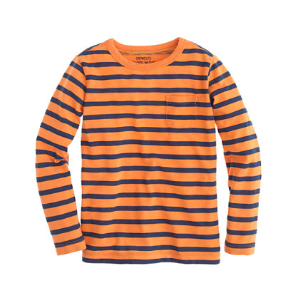 Boys' long-sleeve pocket tee in slim stripe