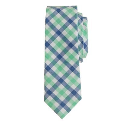 Boys' tie in sea glass check