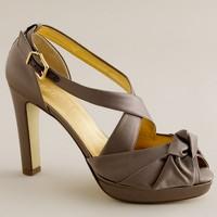 Love-me-knot satin platform heels