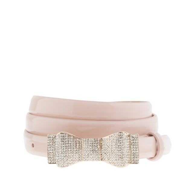 Refined crystal-bow buckle belt