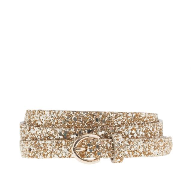 Glitter round-buckle skinny belt