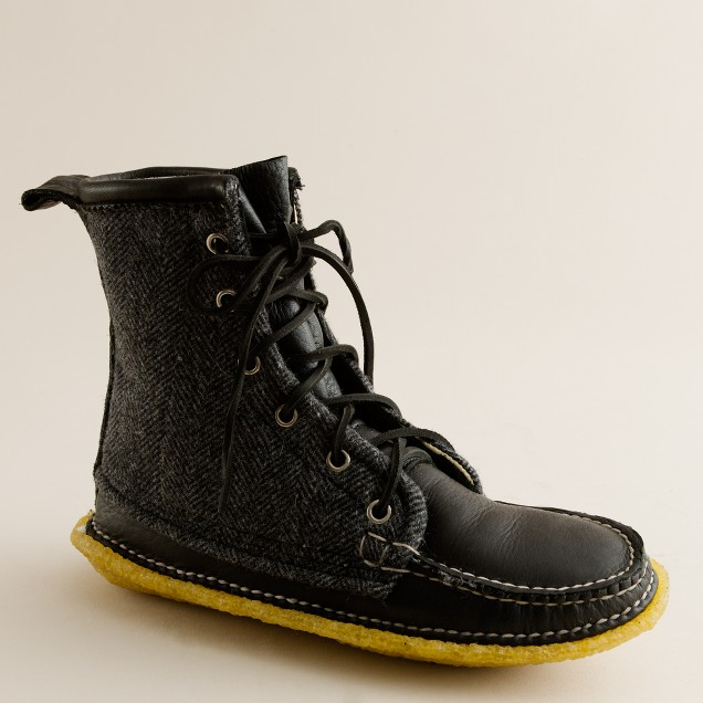 Quoddy® tweed and leather grizzly boots
