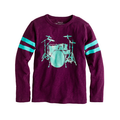 Boys' long-sleeve drum set tee