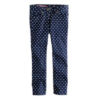 Girls' toothpick jean in polka dot
