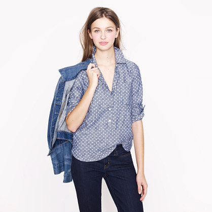 Circle-print chambray popover