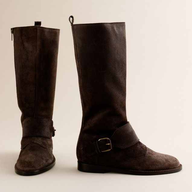 Girls' oiled suede boots