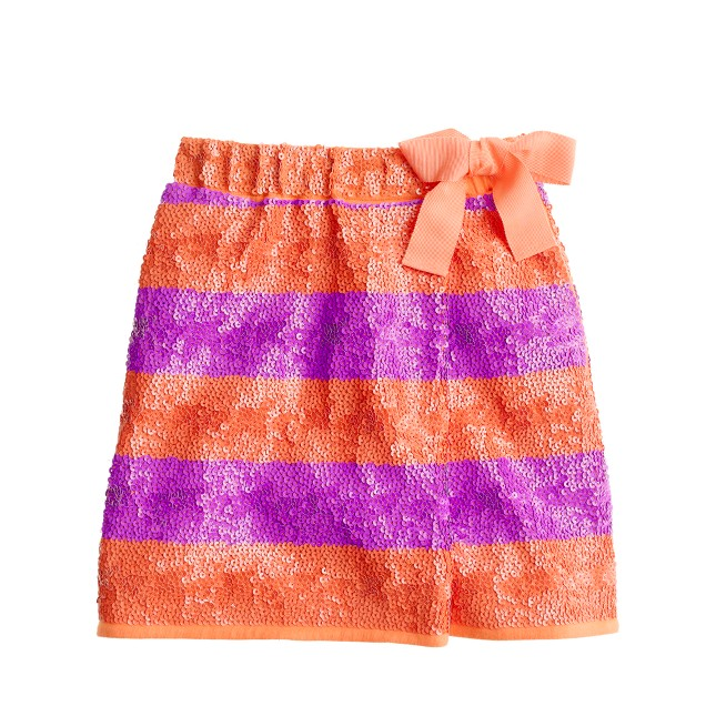 Girls' sequin faux-wrap skirt in stripe
