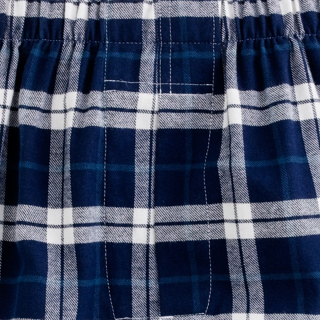 Flannel boxers in blue plaid