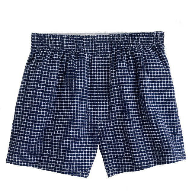 Flannel boxers in navy check