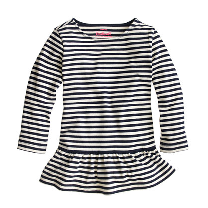 Girls' peplum tee in stripe
