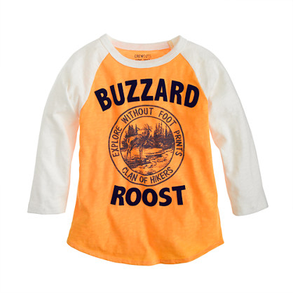 Boys' three-quarter sleeve buzzard roost baseball tee