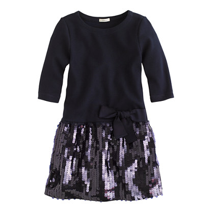 Girls' paillette ponte dress
