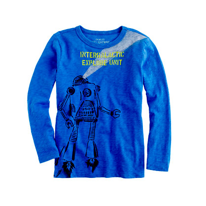 Boys' long-sleeve stencil robot tee