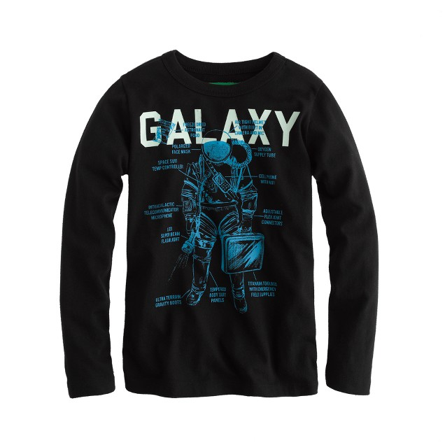 Boys' glow-in-the-dark long-sleeve galaxy tee