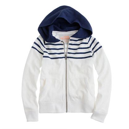 Boys' heavyweight slub cotton zip hoodie in stripe