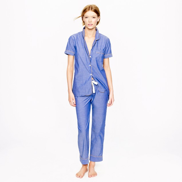 Vintage short-sleeve pajama set in chambray