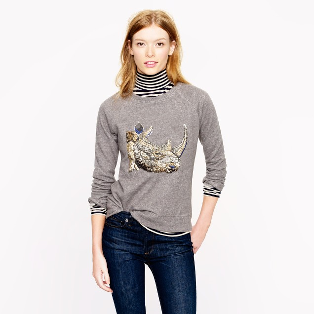 Sequin rhino sweatshirt