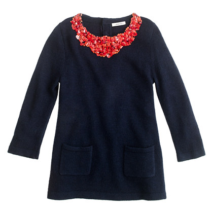 Girls' sequin necklace sweater