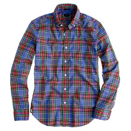 Slim Secret Wash shirt in atlantic tartan