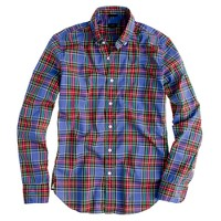 Slim Secret Wash shirt in atlantic tartan