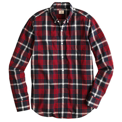 Secret Wash shirt in dark poppy plaid