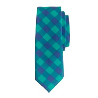 Boys' tie in pacific turquoise gingham