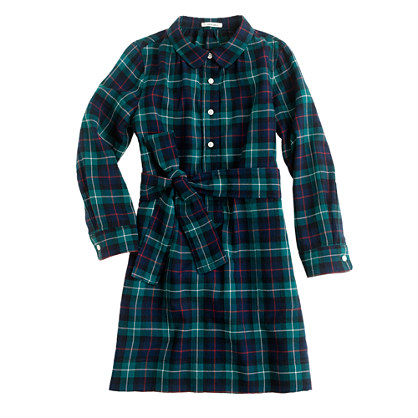 Girls' shirtdress in herringbone plaid