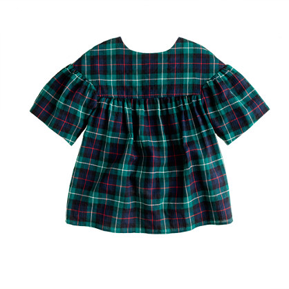 Girls' tartan swing top