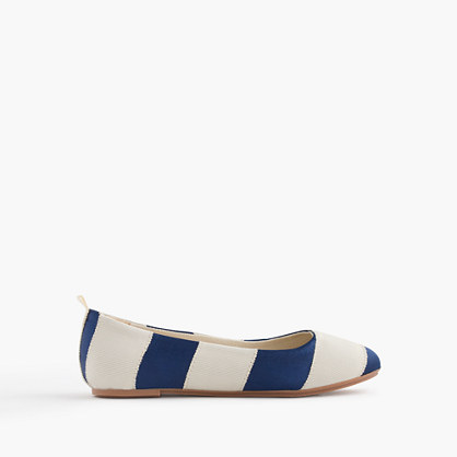 Girls' striped ballet flats