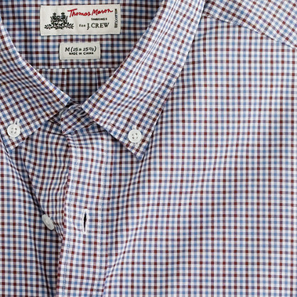 Washed Thomas Mason® fabric button-down slim-fit shirt in Horatio tattersall