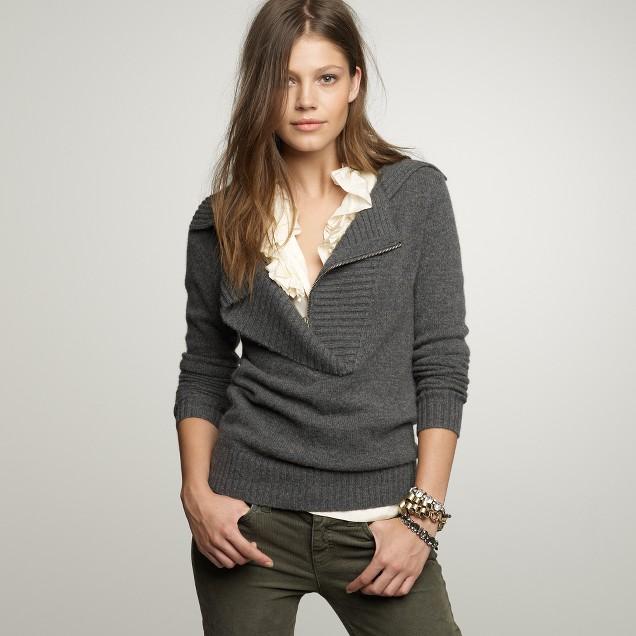 Cashmere zip shawl-collar sweater