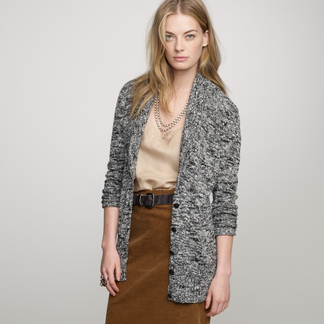 Marled shawl-collar cardigan