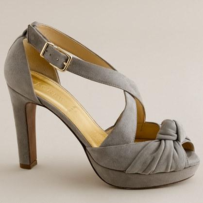 Love-me-knot suede platform heels