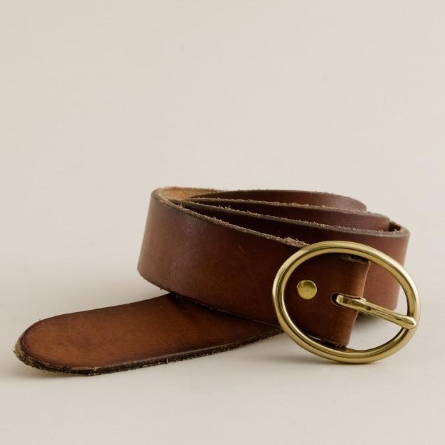 Oval buckle denim belt